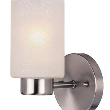 Sylvestre One-Light Indoor Wall Fixture, Brushed Nickel Finish with Frosted Seeded Glass