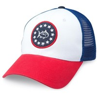 Front Runner Trucker Hat in Red, White and Blue by Southern Tide
