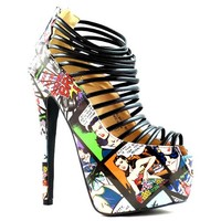 Elle-321 Comic Peep toe Strappy Platform Pump Stiletto Heel - Cutesy Originals