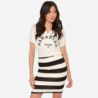 Black and White Striped Elastic Pencil Skirt