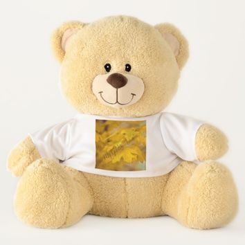 Yellow autumn maple leaves. Add text. Teddy Bear