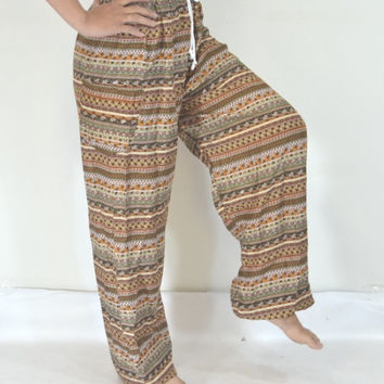 Long relax pants/Brown stripes Yoga Pants/Hippie Boho/Print design/Stretch elastic waist/Comfortable wear fit most/Long pants/Thailand.