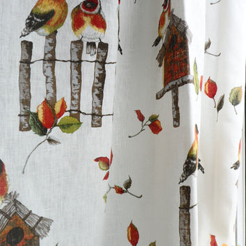 SALE! Linen fabric. Width 54 inches Linen fabric by the yard European Natural linen Colourful birds Quilt fabric