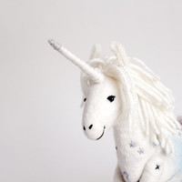 Unicorn - Art Toy, Felt Standing Unicorn Handmade Stuffed, Myth animal. white, neutral, grey, pastel blue. SPECIAL ORDER for jbtci