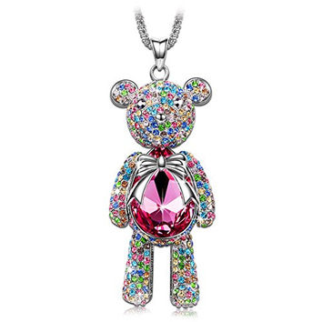 """Bear Princess"" Made with Pink Swarovski Crystals Cute Bear Design Women Jewelry Necklace"