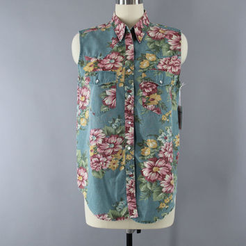 Vintage Floral Print Denim Shirt / Western Blouse / Sleeveless Top / Cambridge Dry Goods / Size Medium M 8