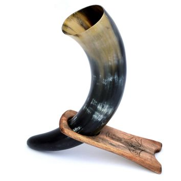 Traditional Viking Drinking Horn With Wooden Stand