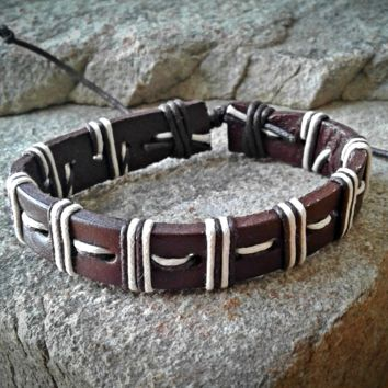 Brown and White Leather  Adjustable Unisex Leather Weave Wrap Bracelets