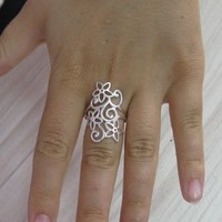 R001136 Long STERLING SILVER Ring Solid 925 Flower