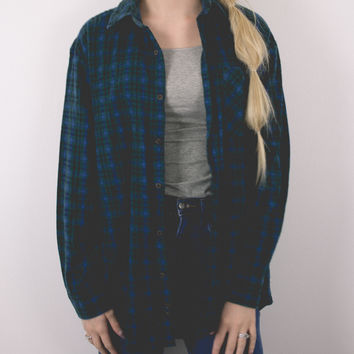Vintage Navy Green Plaid Flannel Shirt