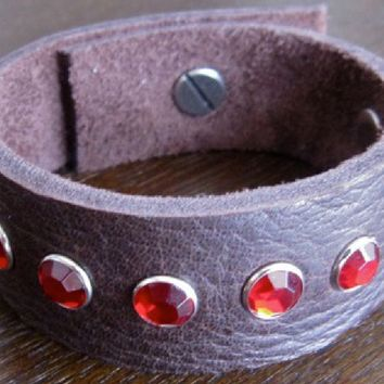 Leather Bracelet - Brown Leather Cuff with Red Crystals.