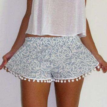 Light Grey Swirl Patterned Pom Pom Shorts - 1970s inspired shorts with Pom Poms