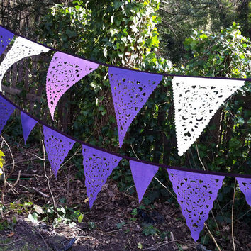 purple and coral rose and ivory bunting, romantic wedding decoration