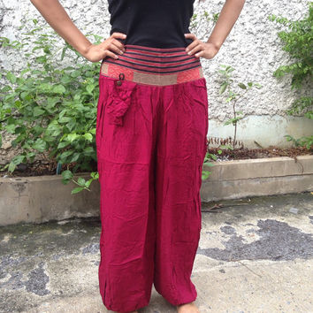 Trousers Yoga Genie Harem Pants Ethnic Tribal Hippies Baggy Boho Hobo Fashion Style Chic Clothing Gypsy Cloth For Exercise Beach Red Plain