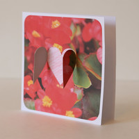 Interactive greeting card - openable heart - set of 3 - floral