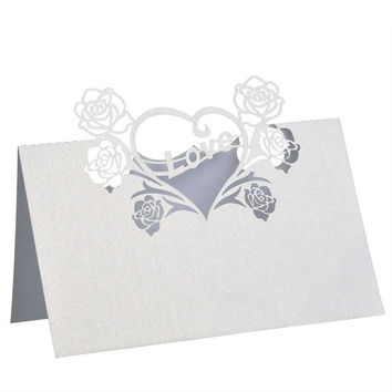 50 Pcs/Lots Laser Ivory Place Name Cards Heart Flower Love Wedding Favor Party Supply Table Decoration (Color: Ivory) = 1933149252