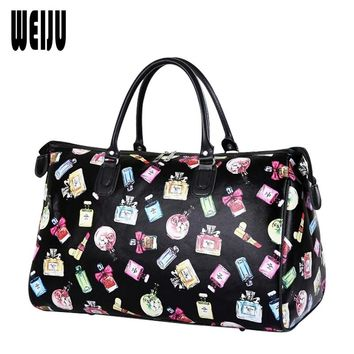 WEIJU 2017 New Women Travel Bags Fashion Luggage Bag Large Waterproof Portable Bag Travel Women PU Leather Weekend bag