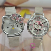Minimum order is US$15 (can mix order) luxury fashion lady girl silver steel band Hello Kitty cat quartz Watch Wristwatch hour