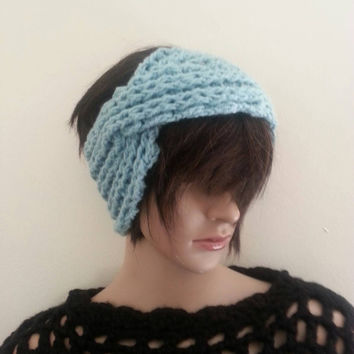 Crochet Turban headband, earwarmer, Mint crochet headband, headband, hairband, turban,WINTER ACCESSORY, stocking stuffer