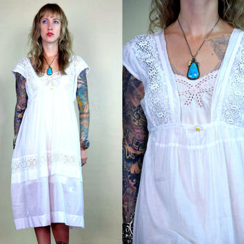 Victorian White Cotton and Lace Crochet Dress