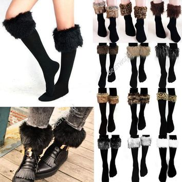2015 Fashion Winter Style Casual Free Size Women Faux Fur Snow Leg Socks Fur Cover Cuf