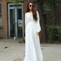 long sleeve White chiffon dress white Maxi Dress white Holiday dress Beach Dress Summer Sundress Long Evening Party Prom dress