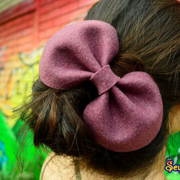 Frosted wine purple felt round big bow barrette hair clip extra large bow pop hair accessory kawaii adult large head piece