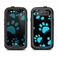 The Black & Turquoise Paw Print Samsung Galaxy S3 LifeProof Fre Case Skin Set