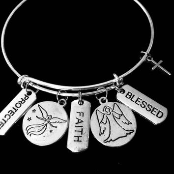 Guardian Angel Jewelry Faith Blessed Protected Health Happiness Expandable Charm Bracelet Silver Adjustable Bangle One Size Fits All Gift
