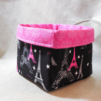 Beautiful Hot Pink and Black Paris Themed Fabric Basket
