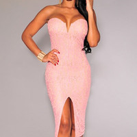 Pink Strapless Padded Lace Evening Dress with Front Slit