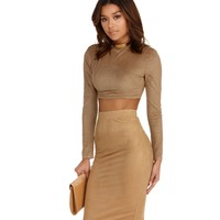 Taupe A Little Less Crop Top