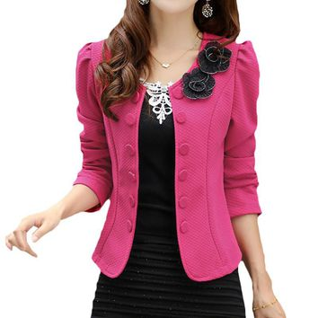 2017 Double Breasted Floral Blazer Women Suits Elegant Suit Jacket Casual Blaser Plus Size M-3XL Cape Blazer Mujer  Black/Pink