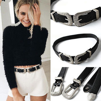 Hot Fashion Women Lady Vintage Boho Metal Leather Double Buckle Waist Belt Waistband