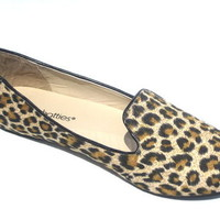 New Womens Faux Suede Loafer Smoking Ballet Flats Leopard,Zebra,Black
