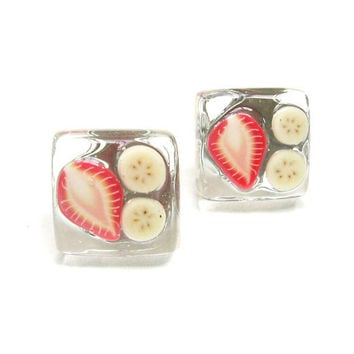 Strawberry Banana Sliced Fruit Yellow Red Stud by SovereignSea