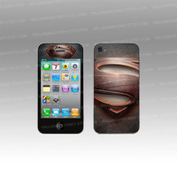 Iphone 5 4 4s Skin Cover - Man of Steel Superman -decal sticker