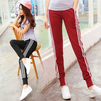 high waist trousers female Harem pants sporting pants cotton joggers women side stripes loose pantalon