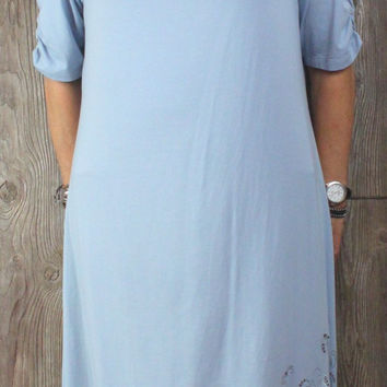Acacia New Dress XL size Blue Drape Neck Lightweight Womens Career Casual Tunic