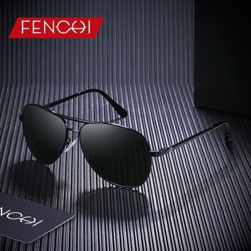 FENCHI Design Sunglasses Men Retro New Driving Vintage Fashion Fishing Pilot Sunglasses High Quality Metal Frame