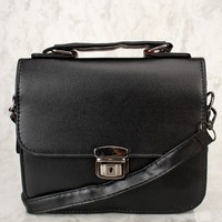 Sexy Black Faux Leather Mini Crossbody Bag