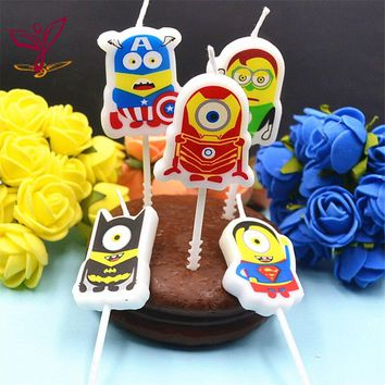 5pcs Minions Heros Avenger Themes Design Art Smokeless Candle for Kids Birthday Party Supplies Cake/Cupcake Toppers