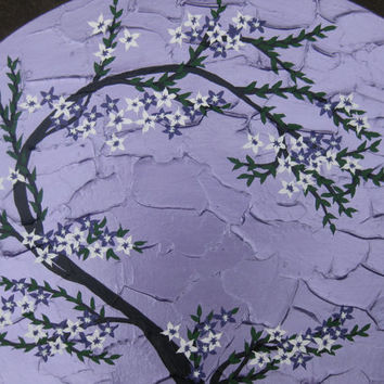 purple painting with cherry blossom tree and flowers - sakura, violet white and green tones - bedroom house abstract tree wall decor