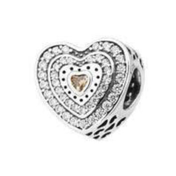 Authentic Pandora Lavish Heart Sparkling Charm, Fancy-Colored & Clear CZ Item #792081FCZ