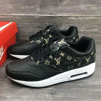 cf09674cb016 Louis Vuitton x Nike Air Max 1 Custom Running Sneakers Sport Sho