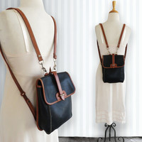 "Dooney & Bourke ~ Backpack ~ AWL ~ Black ~ Tan ~ Vintage ~ Mint ~ 8"" X 10"" X 3"" Medium ~ Unisex"