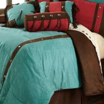 Cowgirl Kim Cheyenne Turquoise Faux Leather Comforter Set