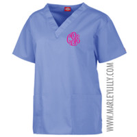 Monogrammed Dickies V-Neck Top | Scrubs | Marley Lilly