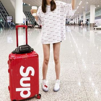 Champion Casual Simple Cool Stripe Fashion Middle Sleeve  Pattern Letter Print Shirt Top Tee T-shirt  Mini Dress