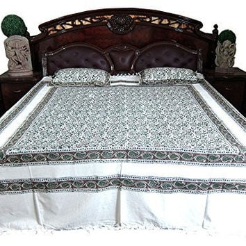 Bohemian Tapestry Boho Indi Bedding 3pc Cotton Bed Cover Paisley Print
